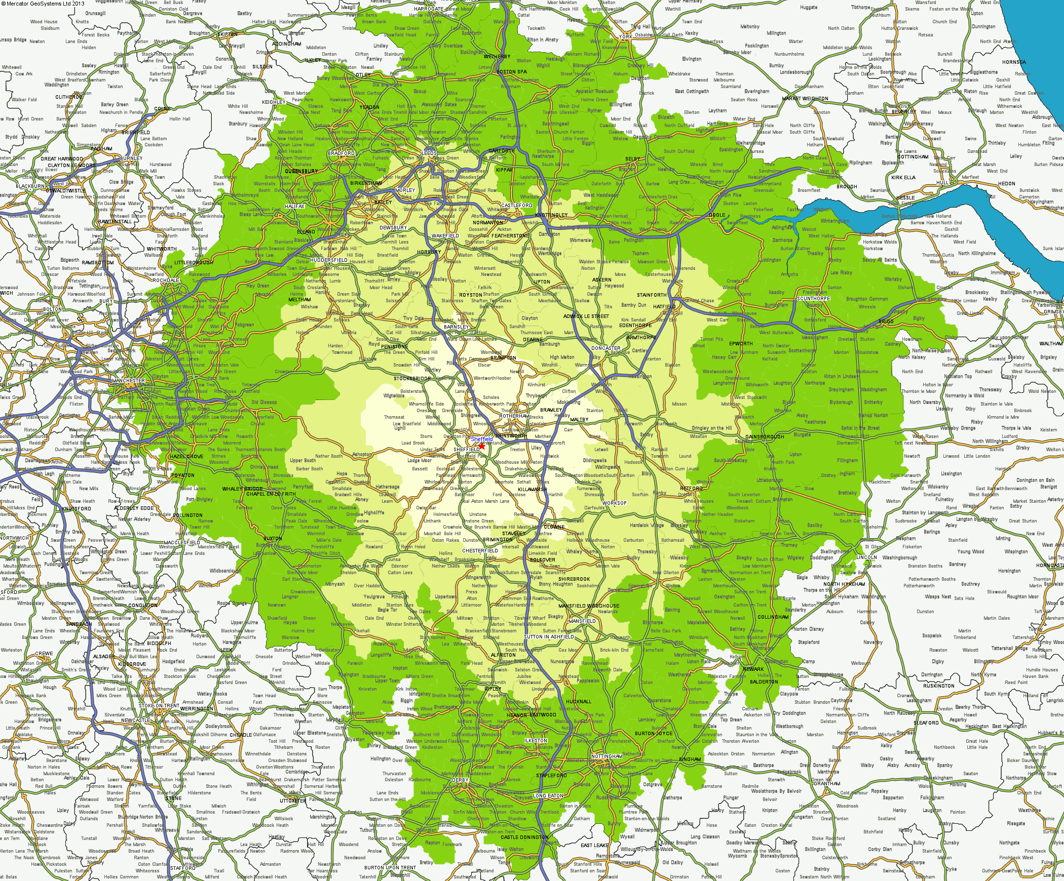 shaded maps of driving time from a uk postal code mercator